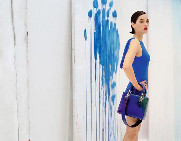 Marion Cotillard in blue cobalt by Tim Walker for Lady Dior Resort 2014 l #fashion #ladydior #handbags