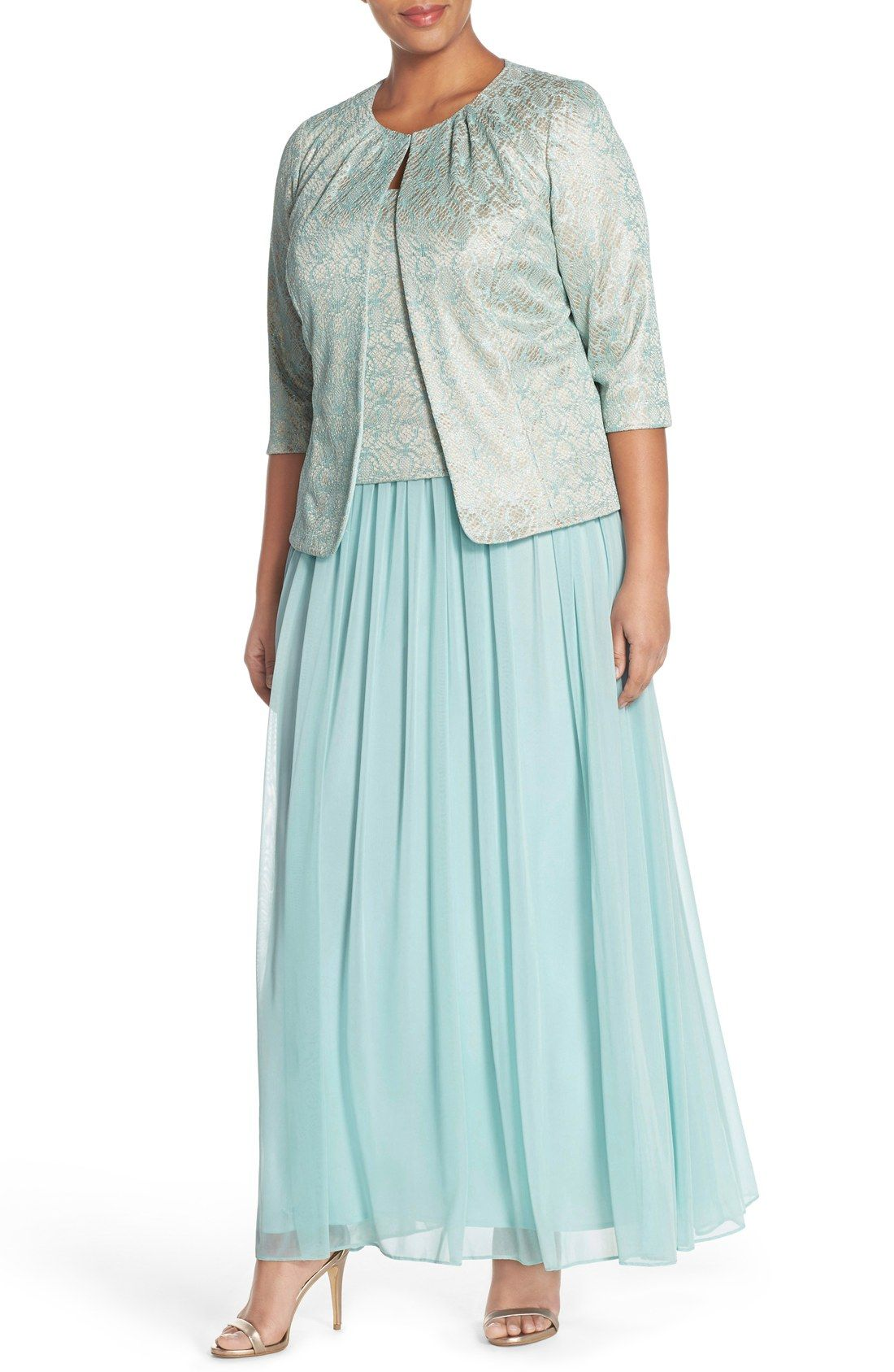 alex evenings mock two-piece gown with tuck neck jacket (plus size
