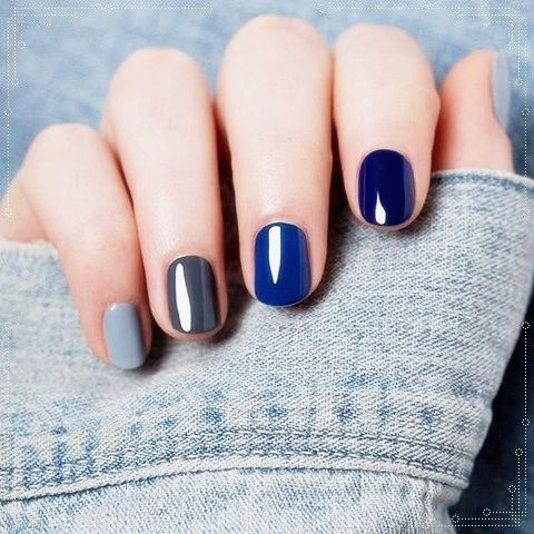 different shades of blue manicure  blue nail art designs
