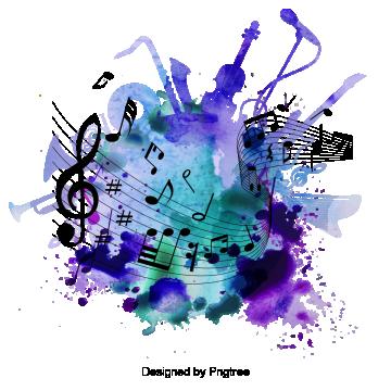Beautiful Cartoon Hand Painted Music Symbol Staff
