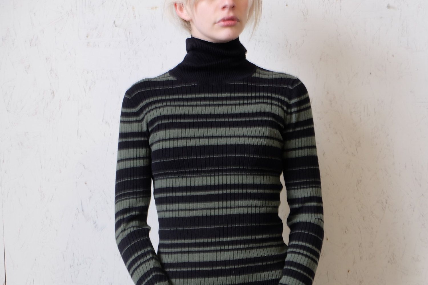 Vintage '90s Green and Black Striped Turtleneck Sweater, Fitted ...
