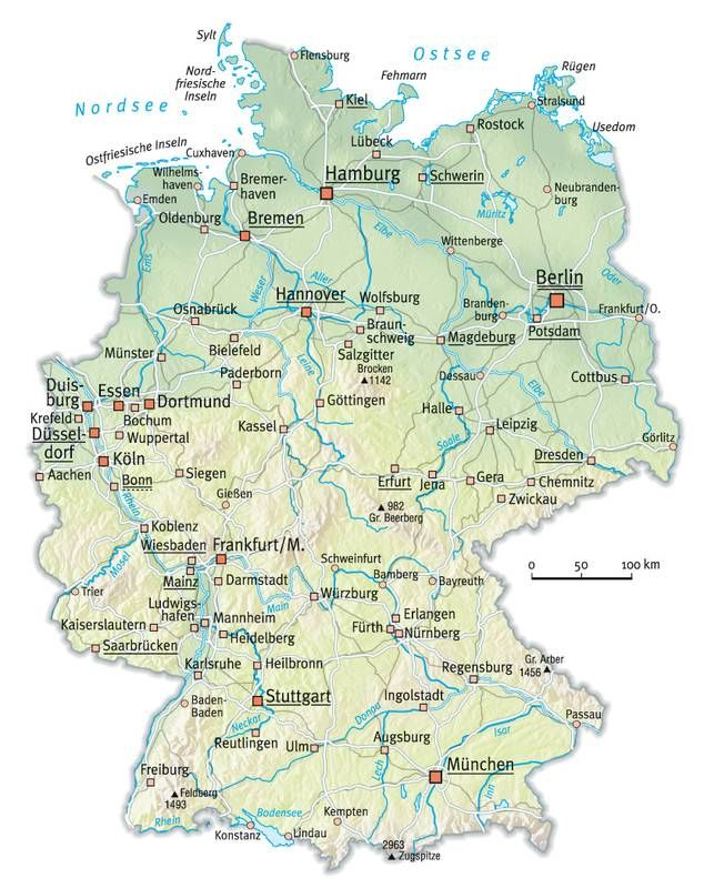germany map with cities and towns