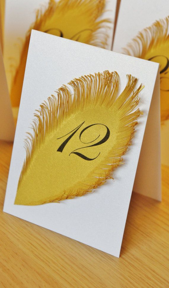 White and Gold Wedding table numbers with feather Iridescent white Tent Style / Table Markers / Table Tents & White and Gold Wedding table numbers with feather Iridescent white ...