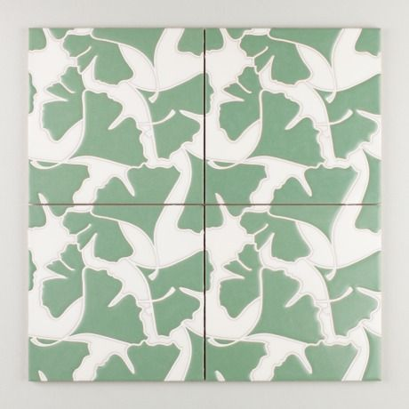 Sakura - Ginkgo Green Motif | Inspired by the leaves of the iconic Japanese tree, Ginkgo features a fan-shaped pattern, perfect for creating an organic and natural design. | $35/Piece | 8x8 size