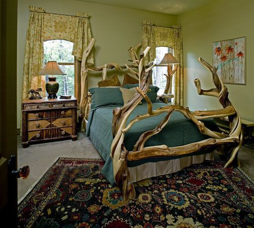 Unique Log Bed, Cabin Furniture, Rustic Bed, Exotic