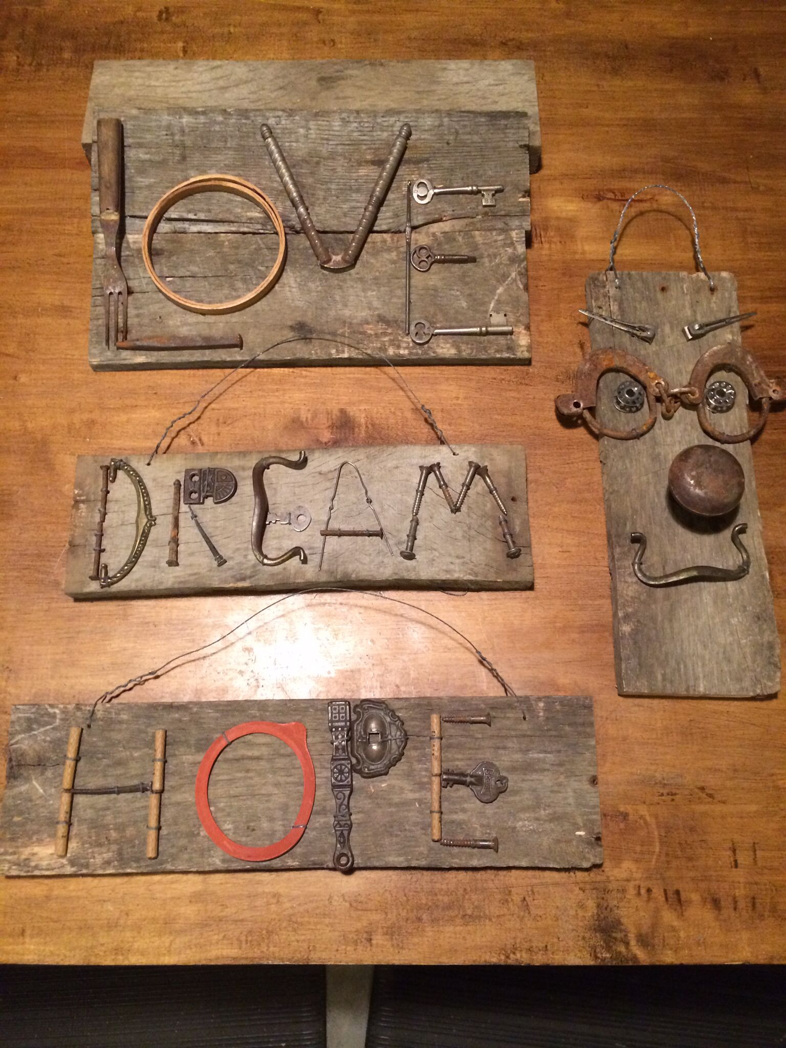 Junk Art Signs I Made For My Booth At The Antique Mall Outside
