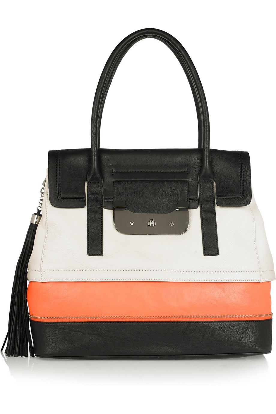 DVF color block leather tote