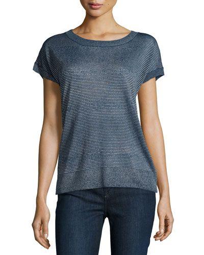 VINCE Metallic-Stripe Short-Sleeve Sweater, Stellar. #vince #cloth #sweater