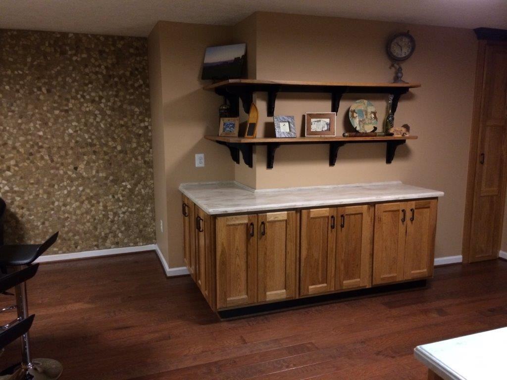 ENTERTAINMENT BAR Waldorf MD Main Cabinetry: Cord's Custom Hickory, Tops: Corian Sandalwood