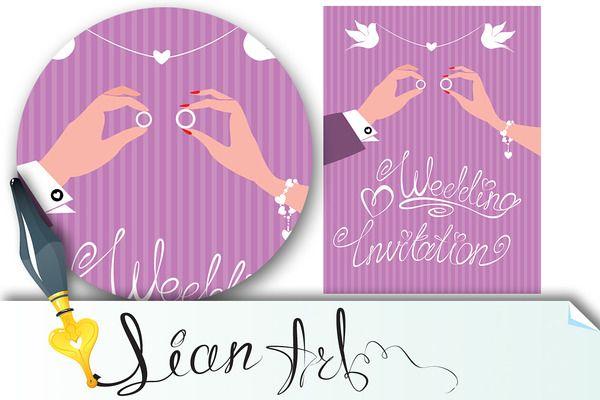 wedding invitation - groom and bride