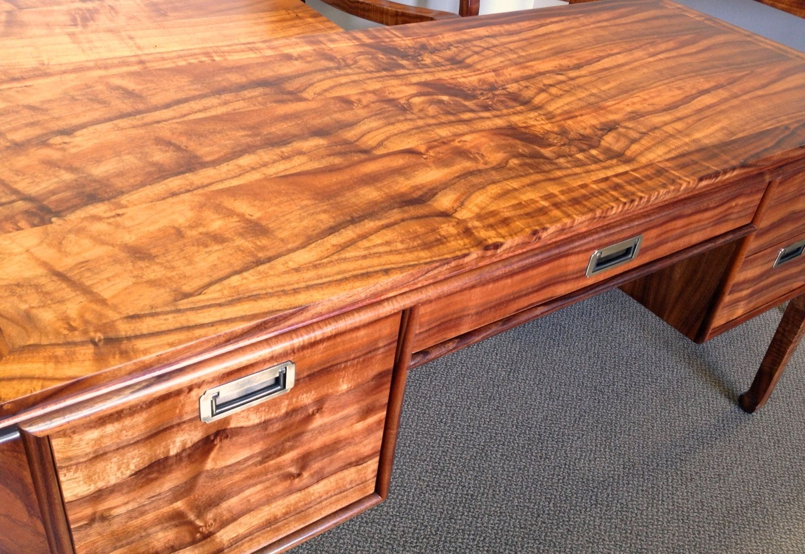 Admiralty Desk In Brilliant Curly Koa Designed And Made In Hawaii By The Fine Craftsmen Of Martin Woodworking Desk Plans Woodworking Apron Mcguire Furniture [ 1102 x 1601 Pixel ]