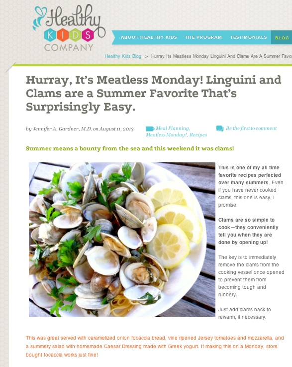 Seafood is a great meatless option and clams couldn't be easier!  www.healthykidsco... Come see what we are up to on Facebook and LIKE us if you like what you see! www.facebook.com/...