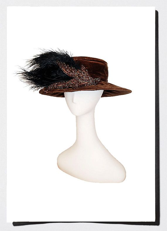 Antique Merry Widow Hat, Brown Velvet & Beading with Sweep of Black Feathers