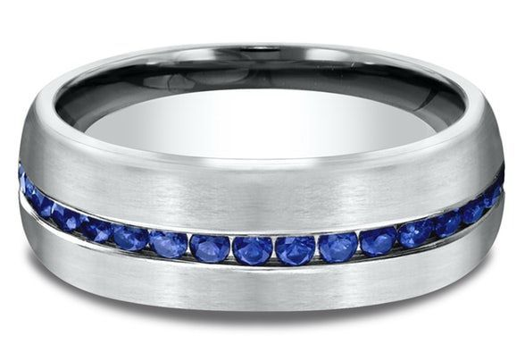 Men's 7 1/2MM Blue Sapphire Comfort-Fit Wedding Ring  - In 14kt White Gold   Ritani  #comfort #ritani #sapphire #wedding #white