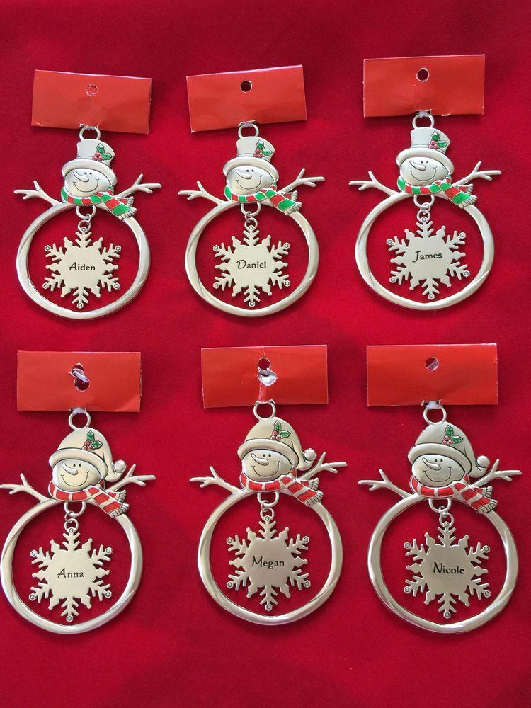 Christmas Monogram Hanging Snowflake Snowman Snowgirl Ornament Boy or Girl Names #monogrammedsnowflakes #ornaments #christmas #aiden #anna #daniel #james #megan #nicole