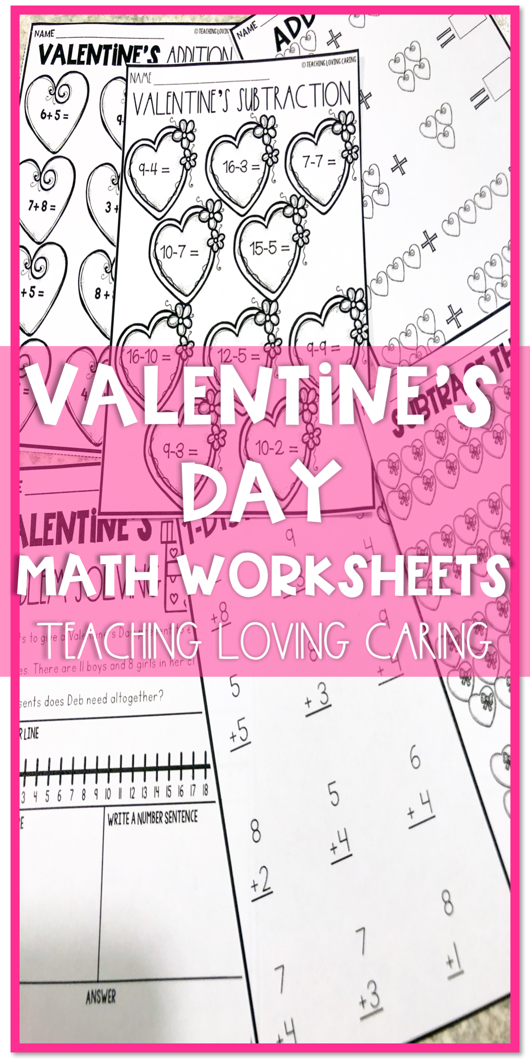 28d839687a92 Valentine s Day math differentiated addition and subtraction activities  packet with a cute