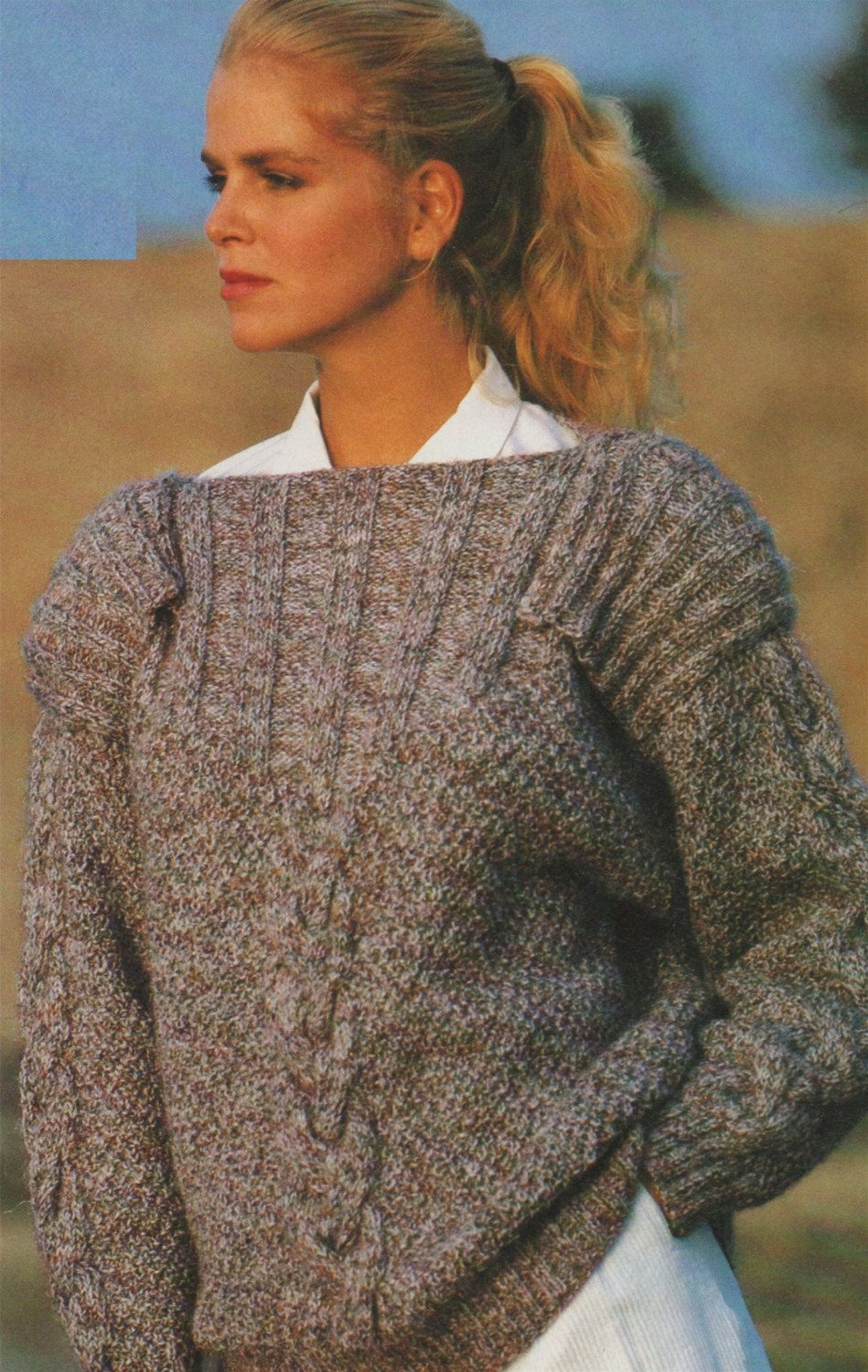 Womens Boat Neck Sweater with Epaulettes Knitting Pattern ...