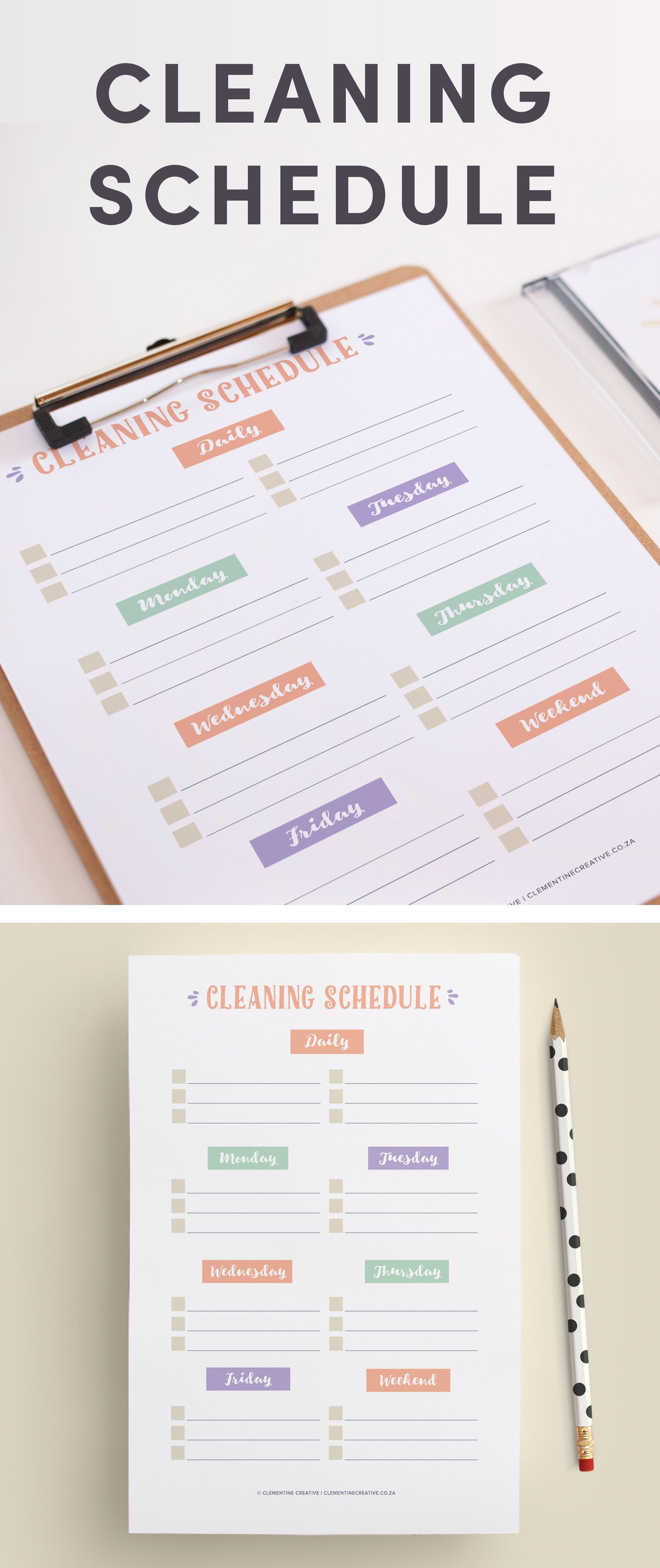 Printable Cleaning Schedule Planner Insert