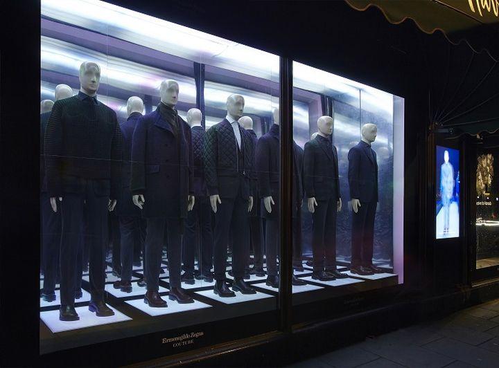 Ermenegildo Zegna Couture Windows At Harrods By Elemental Design London Uk Window Display Harrods Zegna Windows