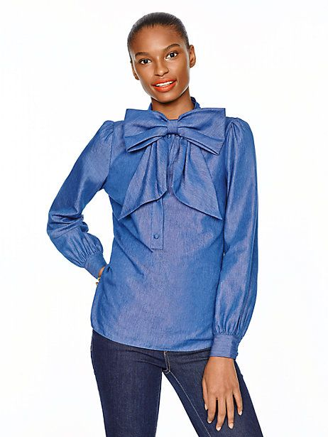 chambray bow blouse - kate spade new york