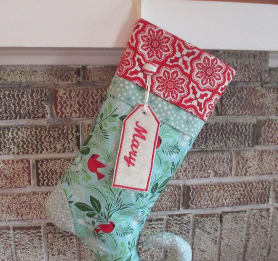 Blue Christmas Stocking Curly Toe Stocking With by bungalowquilts