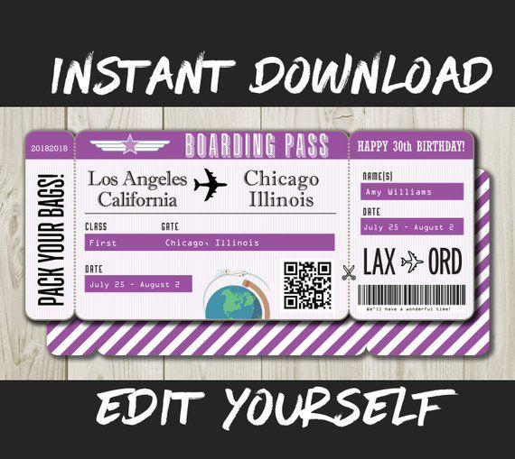 Diy Printable Editable Boarding Pass Surprise Fake Airline Ticket