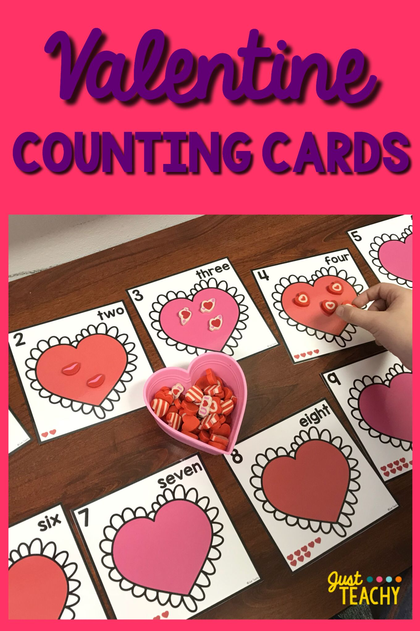 Valentine Counting Cards For Numbers 1 20