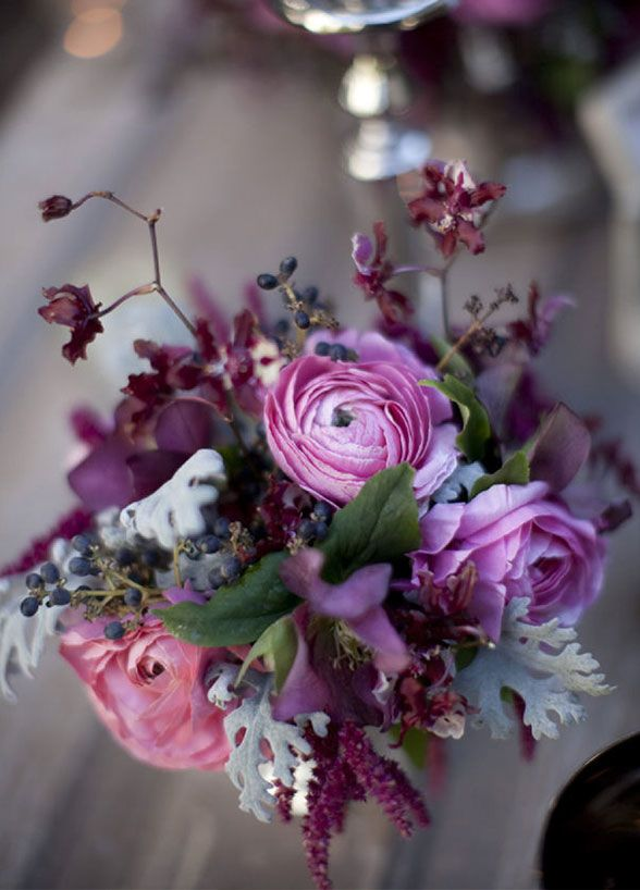 winter wedding purple flowers - Google Search
