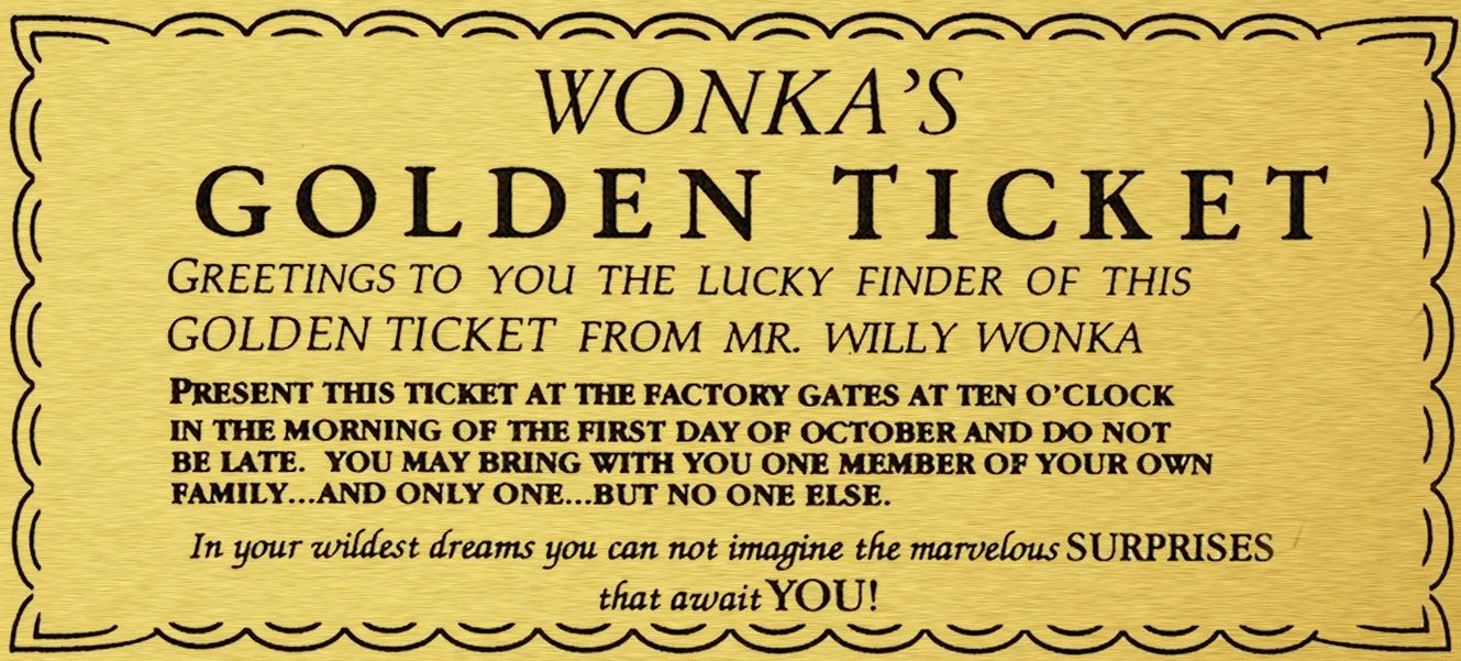 This is a photo of Stupendous Willy Wonka Golden Ticket Printable
