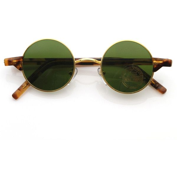 75f0b429f Vintage Eyewear Lennon Inspired Deadstock Small Round Frame Sunglasses with  Green Lens featuring polyvore women's fashion