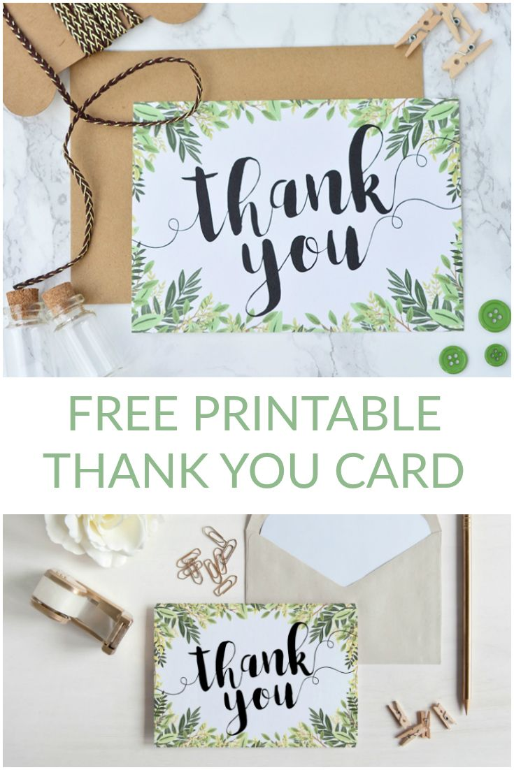 Free Printable Thank You Botanical Inspired Card Free Printable - Card template free: postcard wedding invitations template
