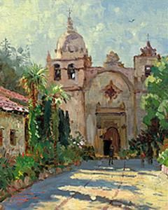 Carmel Mission by Thomas Kinkade. I love all of his work! I wish I could paint light like he can.....