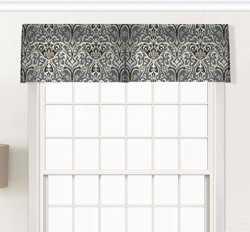 Inverted Box Pleat Custom Valance With Wide Pocket Optional Etsy Custom Valances Box Pleat Valance Wooden Window Frames