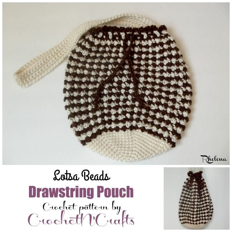 Free Crochet Pattern For The Lotsa Beads Drawstring Pouch The