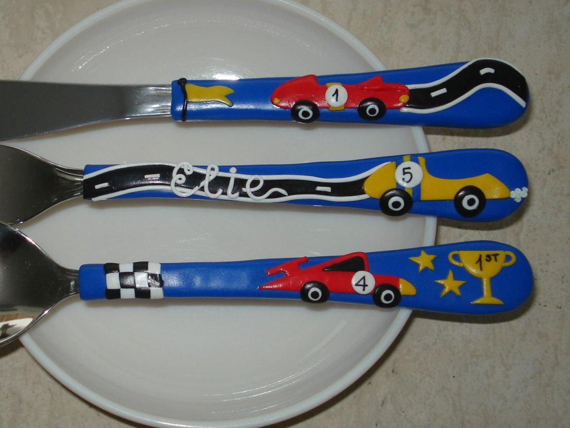 Racing Cars Cutlery Personalized Cutlery Cars Spoon Boys Name Spoon Personalized Gift Gift For Boys Custom Cutlery Kids Dinner Set Gifts For Boys Polymer Clay Clay