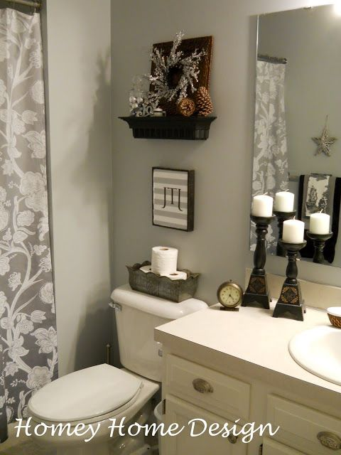 Have Lots Of These Little Shelves Will Work Great In Half Baths And Kids Bathroom Bathroom Decor Home Decor Beautiful Bathrooms Bathroom decor with gray walls