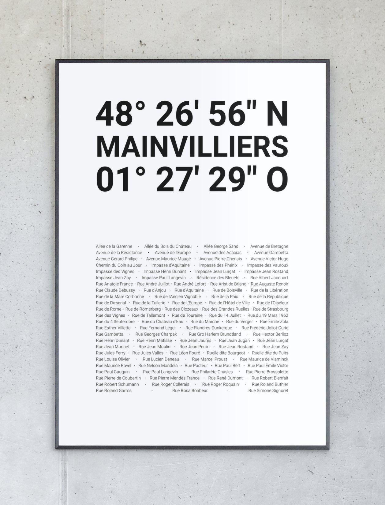 Koordinatenposter von Mainvilliers – Komplett personalisierbar.