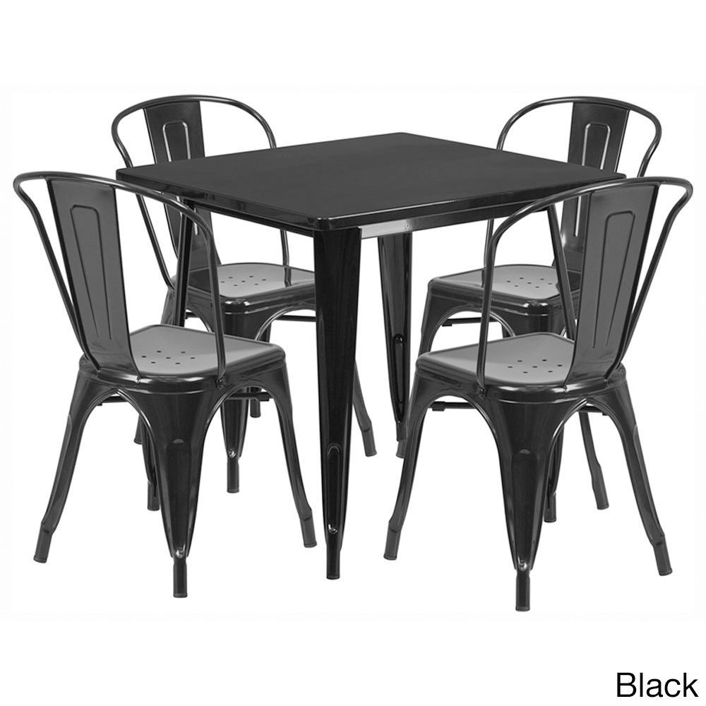 Offex 31.5 inch Home Indoor Metal Square Cafe Table Set With 4 Stack ...