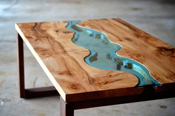High Quality Live Edge Wood Coffee Table With Glass River 2 | Playa Del Carmen Rustic  Industrial Lamps