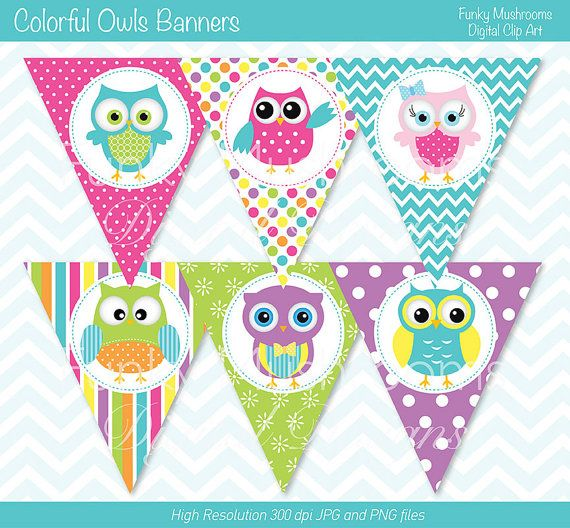 Owls Birthday Banners, Owls Bunting Flags, Owls Birthday