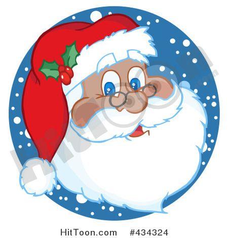Santa Clipart 434324 Black Santa Face With Snow By Hit Toon Clip Art Santa Claus Face Christmas Scenes