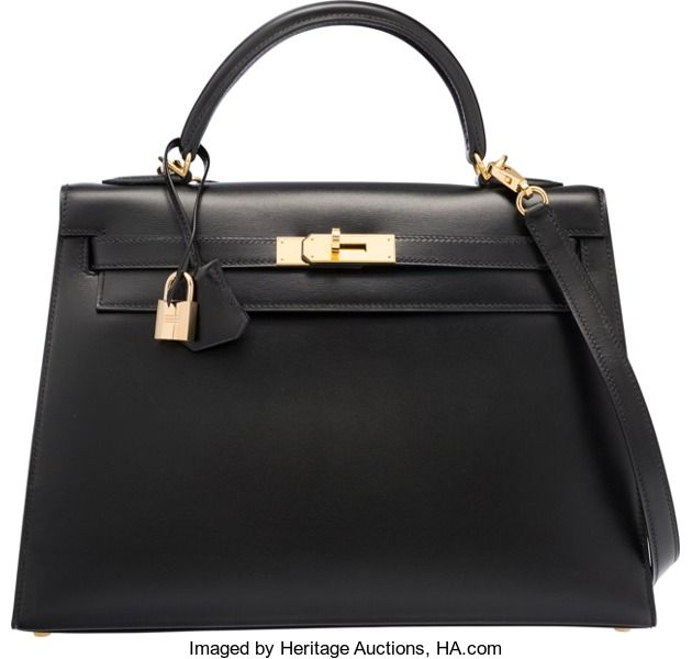 "Hermes 32cm Black Calf Box Leather Sellier Kelly Bag with GoldHardware. G Square, 2003. Excellent Condition. 12.5"" Width..."