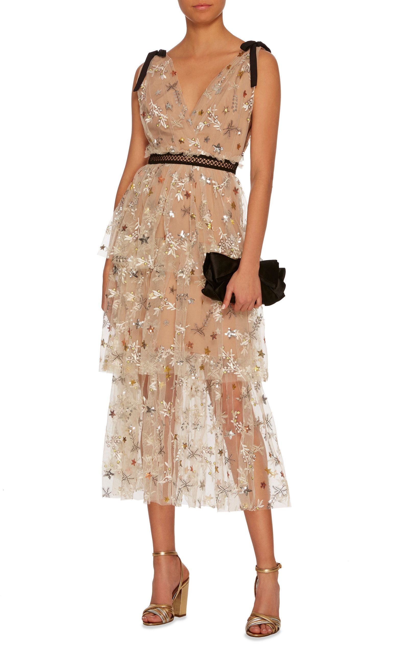 50d28651f063 Embellished Tulle Midi Dress by SELF PORTRAIT Now Available on Moda Operandi