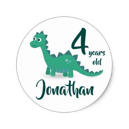 Dinosaur birthday personalized stickers classic round sticker personalised stickers and round stickers