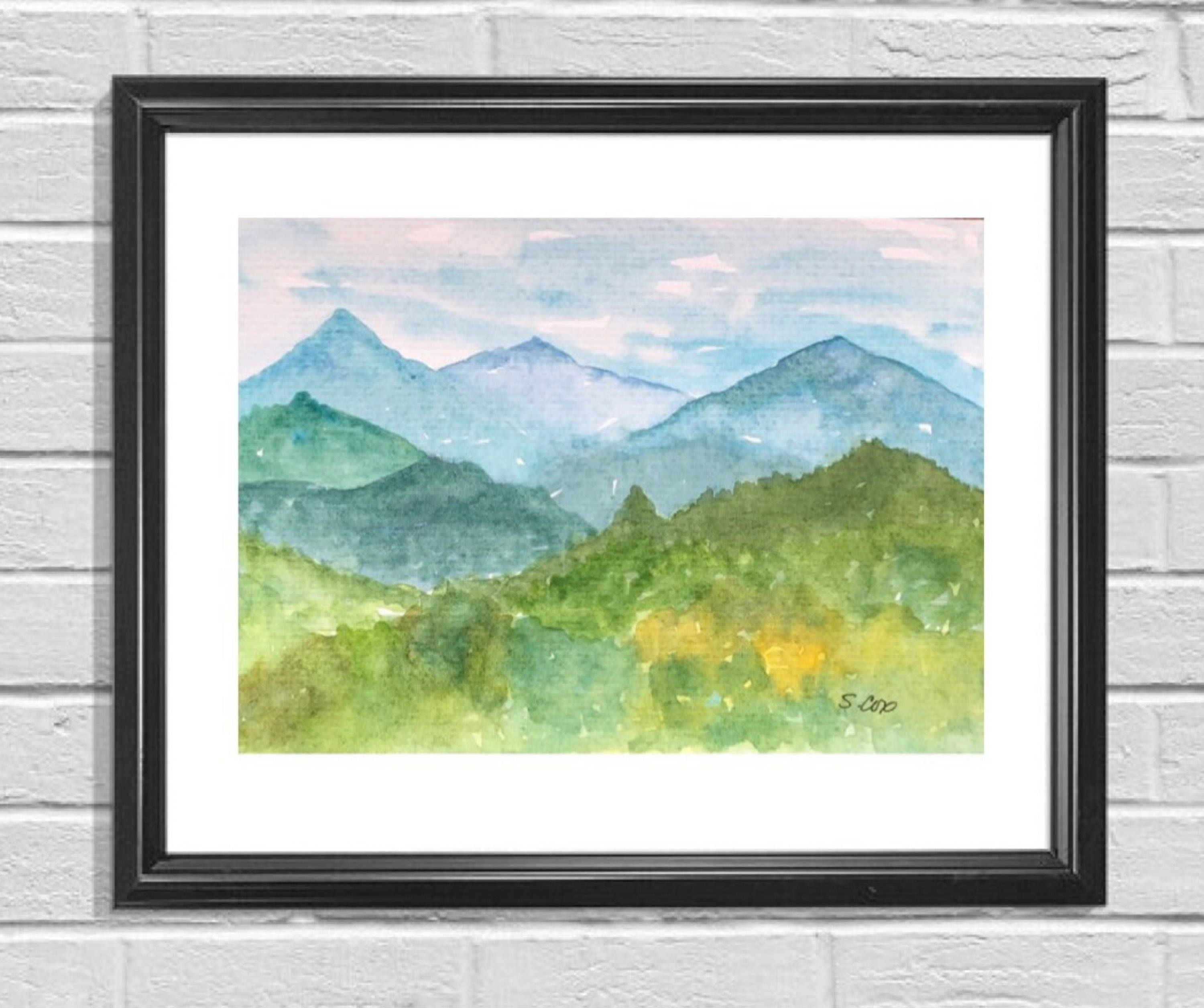Original Watercolor Painting Mountain Landscape Smoky Mountain