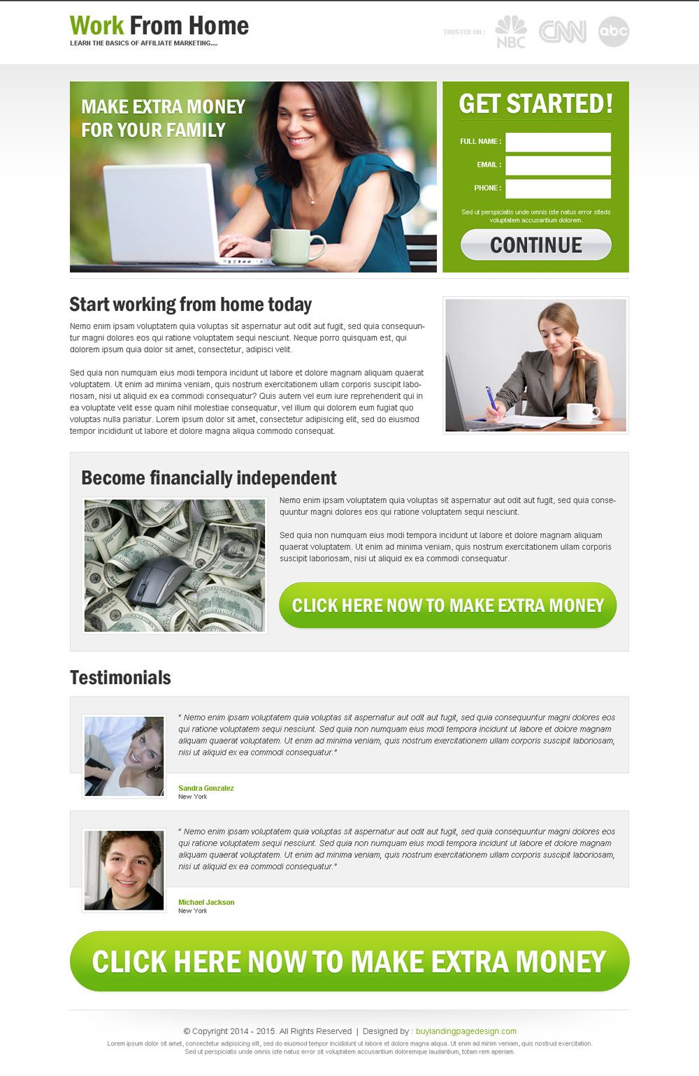 Work from home to earn extra money lead capture responsive - How to earn more money in design home ...