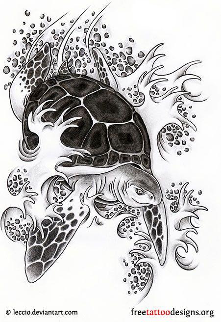 Turtle Tattoo Idea And Waves Design