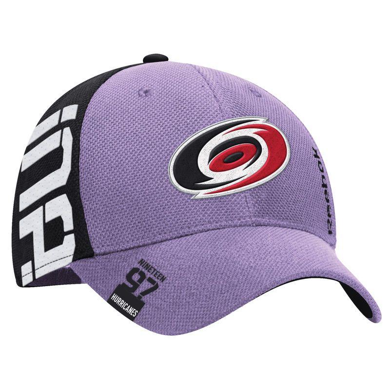 ba066abe6e48fe Carolina Hurricanes Reebok Hockey Fights Cancer Flex Hat - Purple ...