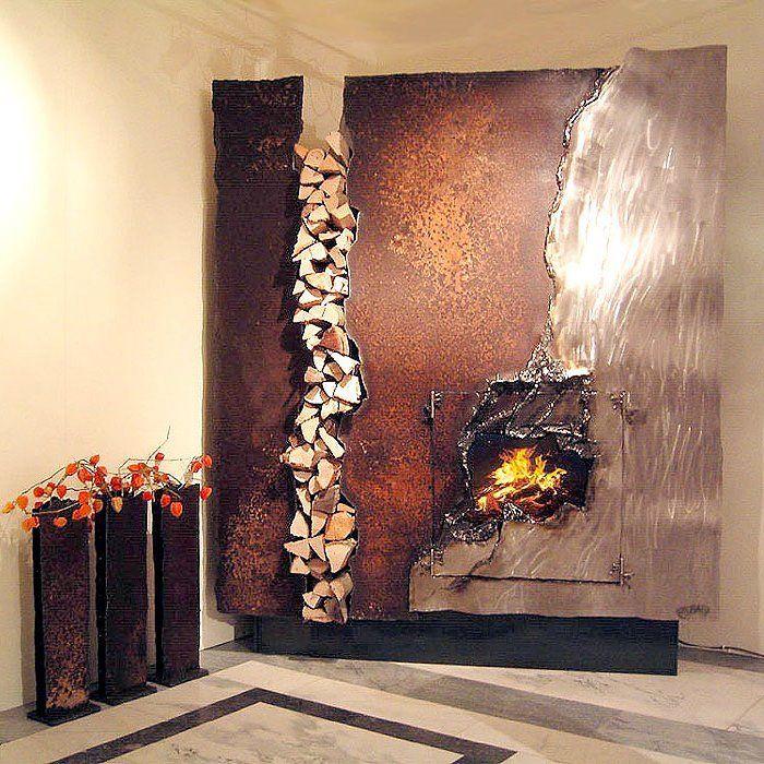 Decoration amazing designer metal art fireplace mantel design by kamin rostig von gahr contemporary fireplace mantels as modern stylish fireplace mantels