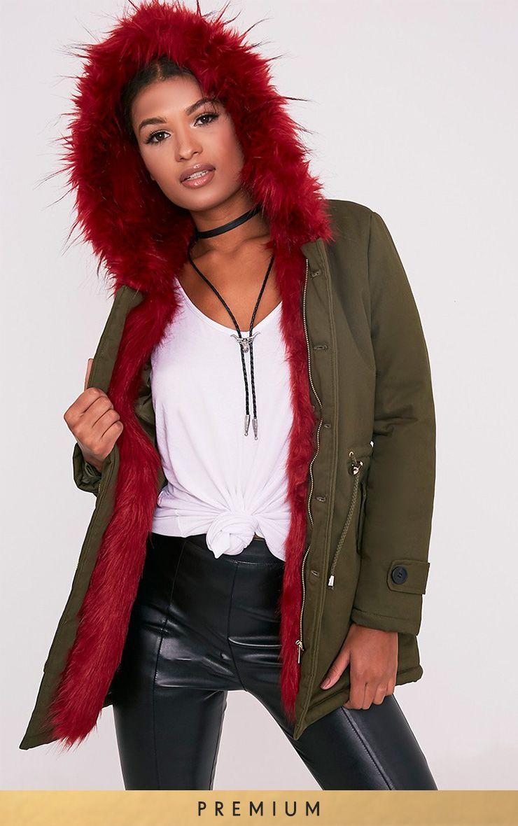 Jen Red Premium Faux Fur Lined Parka Image 1 | TO BUY | Pinterest ...